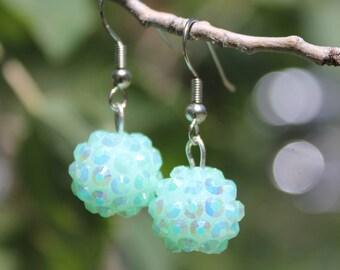 Blue Sparkle Ball Earrings
