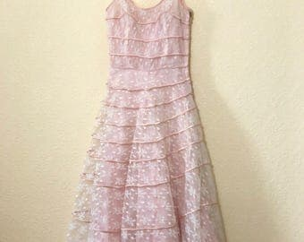 1950's pink lace tiered dress