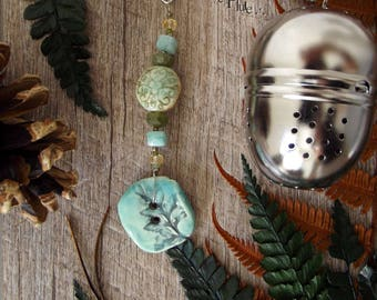 """Ball has tea/jewelry of tea UNIQUE gemstones and ceramic """"Fern"""""""