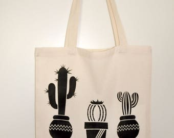 Tote bag / Tote / unbleached organic cotton novelty Cactus