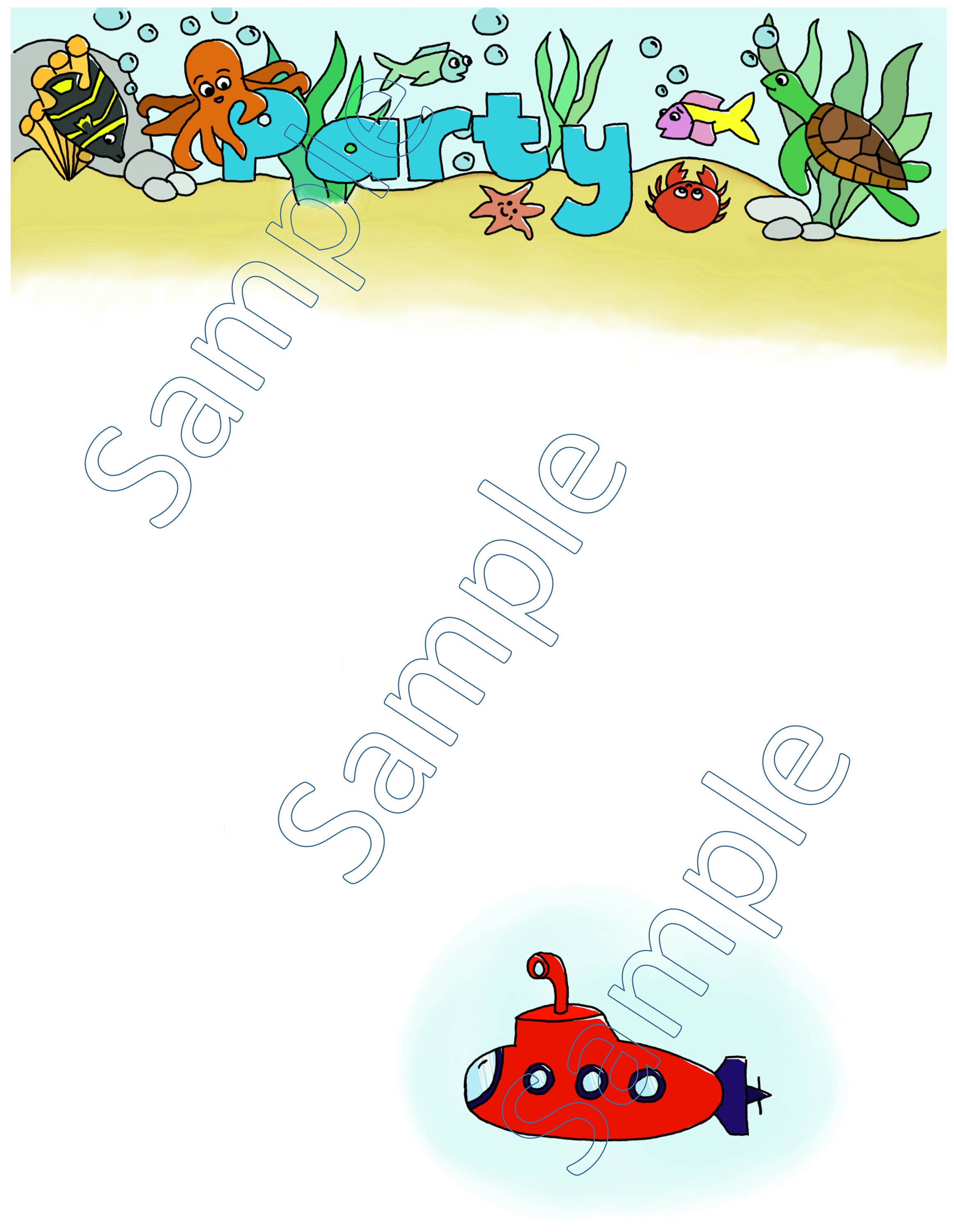 Under the sea fish party invitation (digital download ...