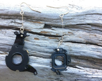 Recycled Circle Earrings From Camera Parts