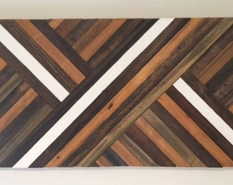 Reclaimed Lath Wood Wall Art, Abstract Pattern