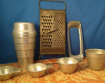 STARTER SET Aluminum Kitchen Basics, Measuring Cups, Gravy Shaker, All in One Grater and Butter Cutter