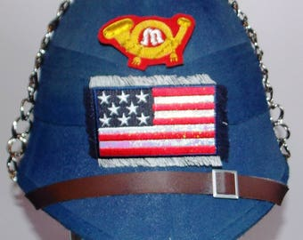 Blue pith helmet civil war, US Marines Infantry.size adjustable,one of a kind,metal chain chin strap,metal spike top, Marine patch,USA flag.