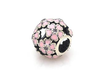 S925 Sterling Silver Big Hole Beads,Micro Pave CZ  Primrose Meadow Charm Bracelet Bead 10x12mm Pack of 1Pcs