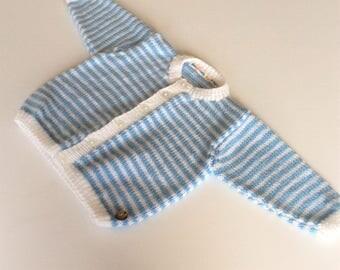 Baby boy's handknitted cardigan, 6 - 12 months, blue and white stripey boy's cardigan, striped boy's cardigan, baby cardigan, baby shower