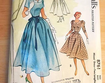 Collectible Vintage Sewing Pattern, McCall's 8761, 1950's Dress, Two Lengths, Size 14