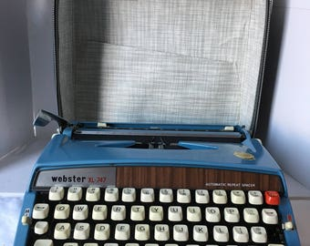 Vintage Brother Webster XL-747 Blue Manual Portable Typewriter with Case