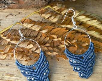 Macrame earrings.Handmade earrings.Gift for women.Boho jewelry.Blue earrings.Hippie jewelry.Ethnic earrings.Beaded earrings.Gift for her.