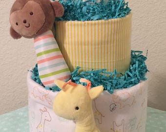 Safari Two Tier Diaper Cake