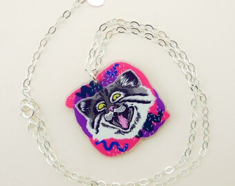 Cat jewelry, cat necklace, cat, cute cat, animal jewelry, pallas cat, cool necklace, quirky gift, quirky jewelry, pallas cat art, funny cat