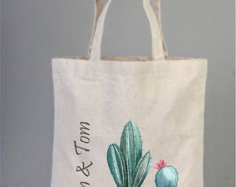 Bridal Bags, Personalized Tote Bag with Cactus, Wedding Bags, Personalized Bridal Gifts, Bridesmaid Gifts, Canvas Bridal Bag, Cotton Bag