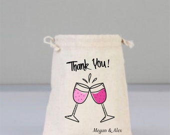 Cheers, Cheers Gift, Cheers Wedding Favor, Thank You Gift, Wedding Gift, Personalize Bag,  Bridal Bag, Drawstring Cotton Bag