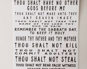 10 Commandments Wall Banner|Exodus 20|Scripture Canvas Wall Banner|Living Room Decor|Baby Shower Gift|Gifts Under 35|10 Commandments Sign