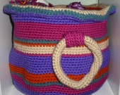 Crochet Storage Basket With Handles Purple Stripes