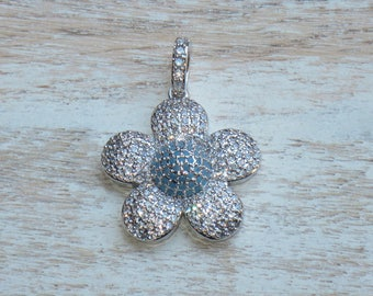 Pave CZ Large Flower Charm in Silver with Blue Cz Crystal Center 25mm
