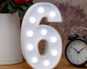 "Light Up Number 6 (Six) - 23cm (9"") high sign, Illuminated White Wooden Marquee Letters with LED Lights Wall Hanging or Freestanding"