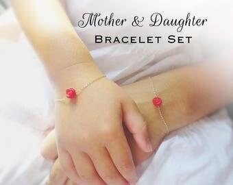 Mother & Daughter Rose bracelet SET, back to school, kindergarten gift, sterling silver bracelet, flower girl, mother and child, Otis B