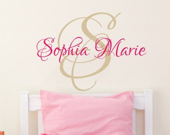 Personalized Name Wall Decal Girl / Wall Sticker Nursery Vinyl Art. Baby Girl Name Nursery Decor. Monogram Children Nursery Wall Decal F19