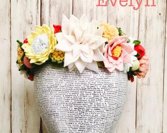 Evelyn Design l Multi Flower Felt Crown l Detailed Crown l Garden Floral Crown l Adult Flower Crown l Child Flower Crown l Child Photograghy