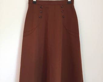 Vintage Retro Skirt  50s 70s Skirt Brown Vintage Cinched Waist High Waist Skirt Size 6