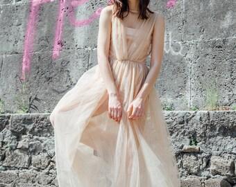 Tulle long dress powder pink