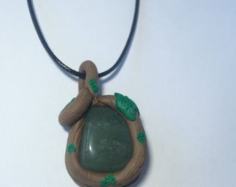 green avennturine pendant, polymer clay pendant, forest theme necklace, earthy necklace
