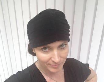 Vintage black velvet turban