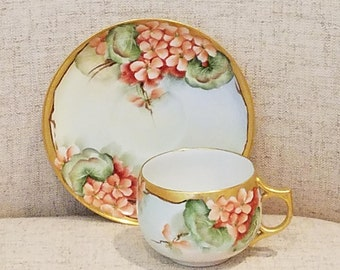 Limoges tea cup, saucer gilded edges, made in France AK Limoges, circa 1910