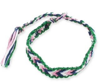 1 green, pink, blue and white friendship bracelet