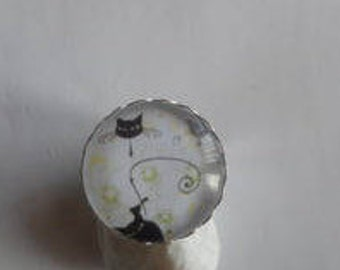 Ring cabochon cat silhouette adjustable silver/thank you/gift/birthday/party