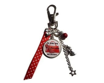 "Keyring - GODMOTHER gift bag charm ""I'm a godmother who rocks"" /personnalisable"