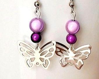 Fancy beads and butterfly earrings
