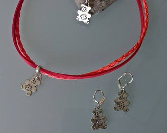 Set for little girls suede and faux coral leather with Teddy bear