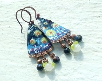Three small flowers. Enameled copper earrings and Lampwork Glass
