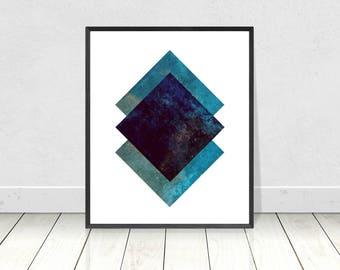 Marble Wall Art, Blue Marble Print, Printable Art, Diamond Pattern,Geometric Print,Abstract Wall Art,Scandinavian Wall Art,Minimalist Poster