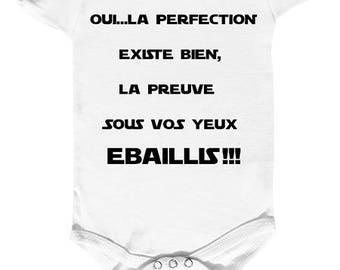 """Bodysuit humor """"perfection is the proof before your eyes"""""""