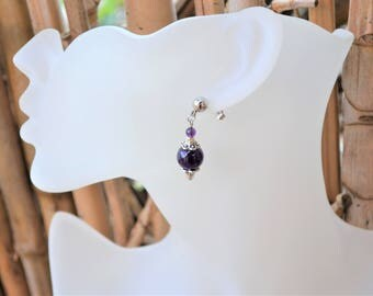 Amethyst beads and stainless steel ear studs / stone of wisdom and humility