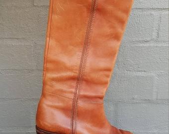 Vintage 70s Knee High Boots size AU 8.5