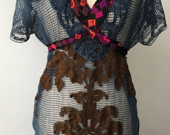 Boho Dress / Bohemian Vintage / Lace / Embellished Dress / 1960s