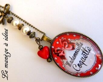 "Pendant necklace ""Miss flirt"" bronze metal"