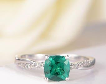 Antique Lab Emerald Engagement Ring Birthstone bridal Wedding Ring White Gold Diamond Infinity Ring Twisted Anniversary Multi stone Women