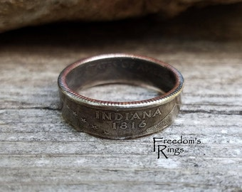 """2002 Indiana """"Statehood"""" Quarter Coin Ring"""
