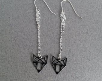 Black chain Fox earrings 925 sterling silver