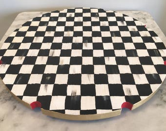 MacKenzie Childs Inspired Courtly Check Handpainted Lazy Susan