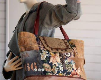 Tote bag canvas vintage flowers, wool with camel Pocket denim print lettering, Star fur