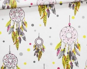 Tissu capteurs de rêves, 100% coton imprimé 50 x 160 cm, attrape-rêves roses, jaunes, gris sur fond blanc