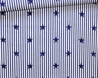 Fabric stripes and stars Navy blue white, 100% cotton printed 50 x 160 cm, sea