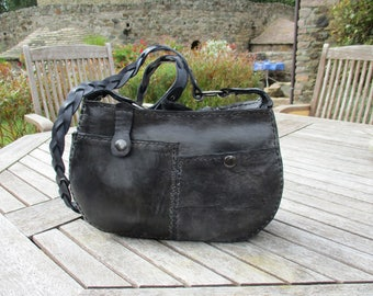 hand-stitched leather slate grey, mottled, woven shoulder bag